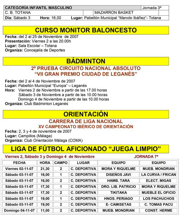 AGENDA DEPORTIVA FIN DE SEMANA 3 Y 4 DE NOVIEMBRE, Foto 3