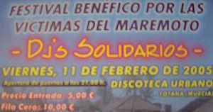 FESTIVAL BENÉFICO POR LAS VÍCTIMAS DEL MAREMOTO DJ´S SOLIDARIOS SE CELEBRARÁ 11 FEBRERO EN DISCOTECA URBANO, Foto 1