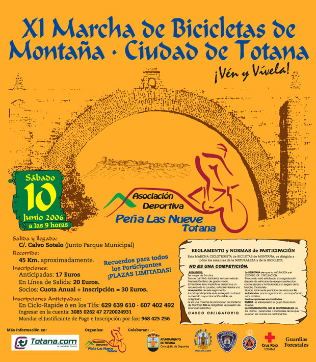 LA XI MARCHA DE BICICLETAS DE MONTAÑA CIUDAD DE TOTANA SE CELEBRARÁ EL PRÓXIMO SÁBADO DÍA 10 DE JUNIO, Foto 4