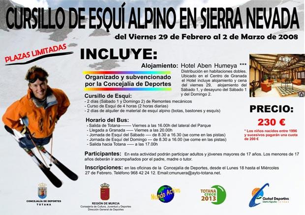 """EL CURSILLO DE """"INICIACIÓN DE ESQUÍ ALPINO"""", ORGANIZADO POR PRIMERA VEZ A TRAVÉS DE LA CONCEJALÍA DE DEPORTES, SE CELEBRARÁ EN SIERRA NEVADA DEL 29 DE FEBRERO AL 2 DE MARZO (2008), Foto 1"""