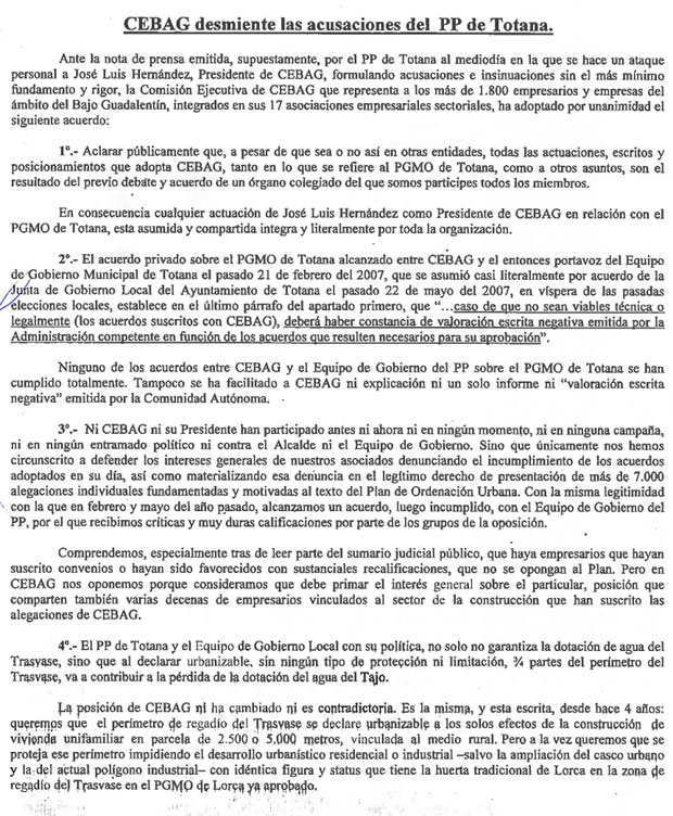 CEBAG desmiente las acusaciones del PP de Totana (2008), Foto 2