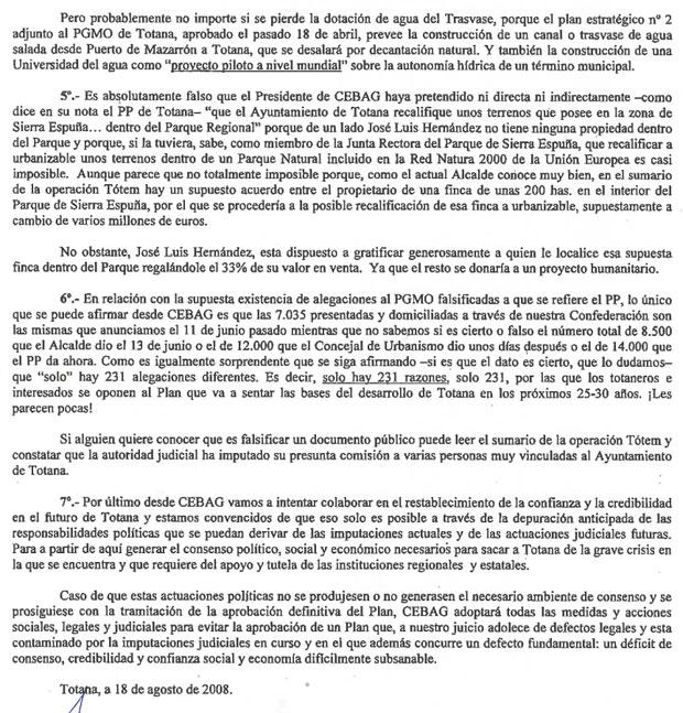 CEBAG desmiente las acusaciones del PP de Totana (2008), Foto 3