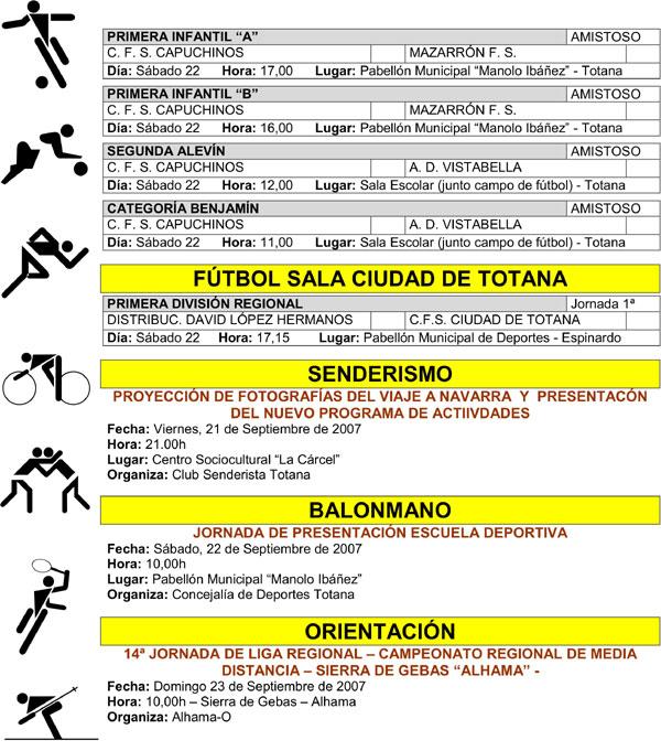 AGENDA DEPORTIVA FIN DE SEMANA (19/09/2007), Foto 2