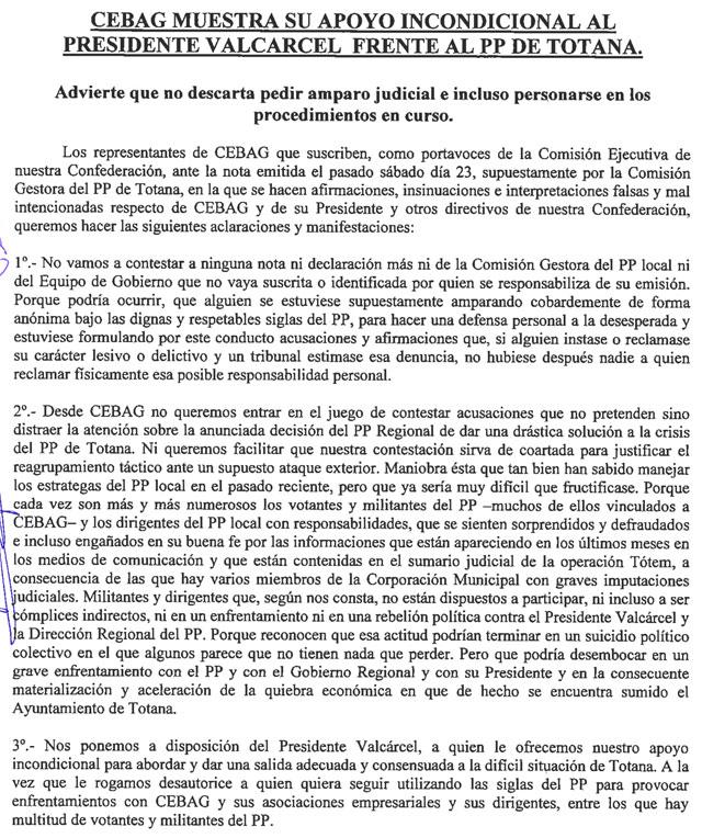 CEBAG MUESTRA SU APOYO INCONDICIONAL AL PRESIDENTE VALC�RCEL FRENTE AL PP DE TOTANA (2008), Foto 2