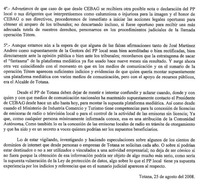 CEBAG MUESTRA SU APOYO INCONDICIONAL AL PRESIDENTE VALC�RCEL FRENTE AL PP DE TOTANA (2008), Foto 3