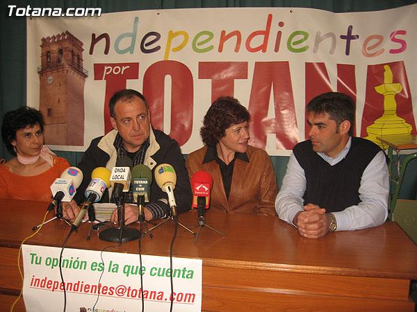 INDEPENDIENTES POR TOTANA CONCURRIR� A LAS ELECCIONES MUNICIPALES DEL PR�XIMO D�A 27 DE MAYO, Foto 1