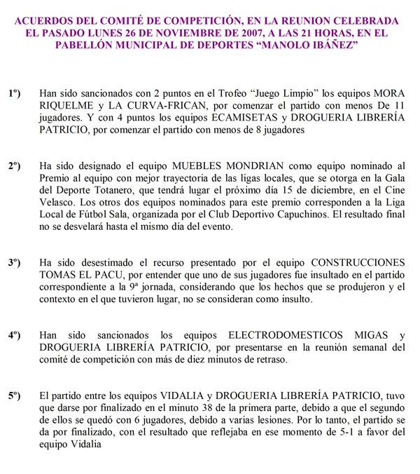 """LIGA FÚTBOL AFICIONADO """"JUEGA LIMPIO"""" 2007-08 (2007) (28/11/2007), Foto 3"""