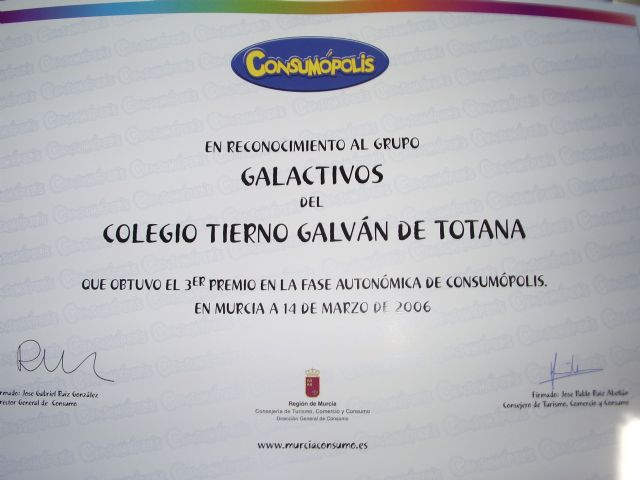 """LA CONCEJALÍA DE EDUCACIÓN FELICITA AL COLEGIO """"TIERNO GALVÁN"""" POR SUS ÉXITOS EN LA CONVOCATORIA DE LOS PREMIOS """"CONSUMÓPOLIS"""" QUE OTORGA LA COMUNIDAD AUTÓNOMA  (2006) - 44"""