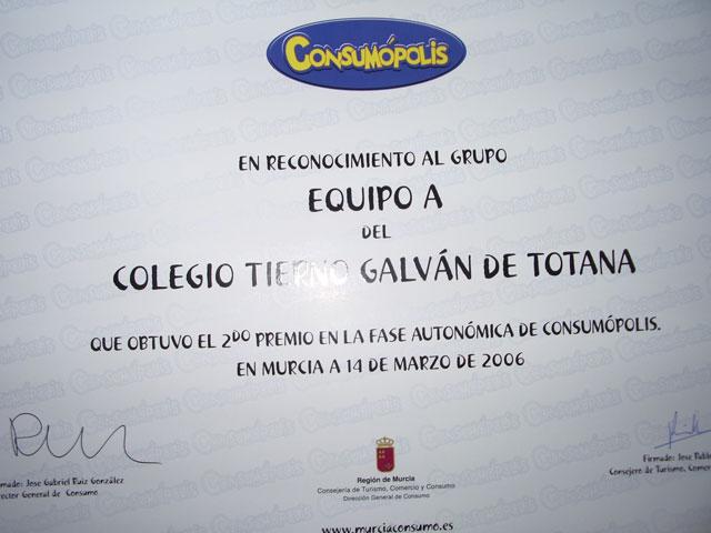 """LA CONCEJALÍA DE EDUCACIÓN FELICITA AL COLEGIO """"TIERNO GALVÁN"""" POR SUS ÉXITOS EN LA CONVOCATORIA DE LOS PREMIOS """"CONSUMÓPOLIS"""" QUE OTORGA LA COMUNIDAD AUTÓNOMA  (2006) - 43"""